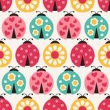 Seamless cartoon  ladybug pattern Royalty Free Stock Photos