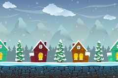 Seamless cartoon landscape with fir-trees and funny houses Stock Photos