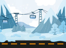 Seamless cartoon landscape, vector background with mountains and Funicular Royalty Free Stock Photos