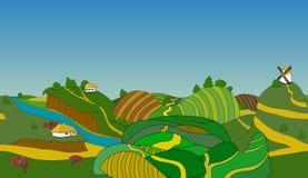 Seamless cartoon landscape, vector background Stock Photography