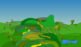 Seamless cartoon landscape, vector background Royalty Free Stock Image
