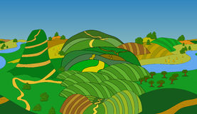 Seamless cartoon landscape, vector background Royalty Free Stock Photography