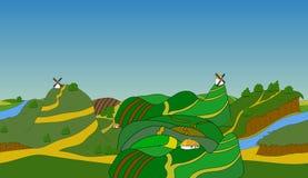 Seamless cartoon landscape, vector background Stock Photo