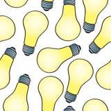 Seamless Cartoon Light Bulb Pattern Stock Image