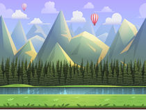 Seamless cartoon mountain natural landscape, vector unending background with separated layers. Stock Photos