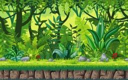 Seamless cartoon nature background. Royalty Free Stock Photo