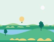 Seamless Cartoon Nature Landscape with Balloon, Vector Illustration Stock Photo