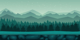 Seamless cartoon nature landscape with 2d game application. Game background 2d game application. Vector design. Tileable horizontally. Size 1024x512. Ready for Royalty Free Stock Photography