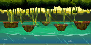 Seamless cartoon nature landscape with different platforms and separated layers for games. Royalty Free Stock Photo