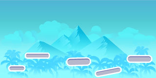 Seamless cartoon nature landscape with different platforms and separated layers for games.Ready for parallax effect. Vector illustration for your design stock illustration