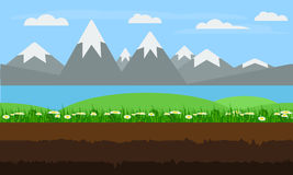 Seamless cartoon nature landscape, flat game background vector. Stock Photos