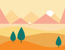 Seamless Cartoon Nature Landscape with Mountains, Vector Illustration Stock Photos