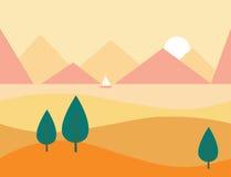 Seamless Cartoon Nature Landscape with Mountains, Vector Illustration Stock Photos