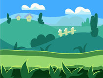 Seamless cartoon nature landscape, unending Royalty Free Stock Photos
