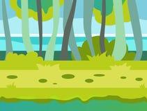 Seamless cartoon nature landscape, unending Royalty Free Stock Image