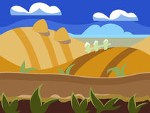 Seamless cartoon nature landscape, unending Stock Image