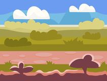 Seamless cartoon nature landscape, unending Stock Photos