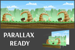Free Seamless Cartoon Nature Landscape, Vector Unending Background With Separated Layers. Royalty Free Stock Photos - 70546378
