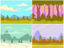 Seamless cartoon nature landscapes Royalty Free Stock Photos