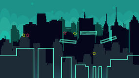 Seamless cartoon night city landscape, vector unending background with road, buildings Stock Images