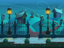 Seamless cartoon night landscape, with graves and crypts, vector unending background with separated layers. stock illustration