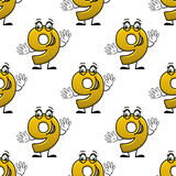 Seamless cartoon number nine characters pattern Stock Photography