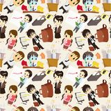 Seamless cartoon office worker pattern Royalty Free Stock Images