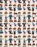 Seamless cartoon office worker pattern Royalty Free Stock Photos