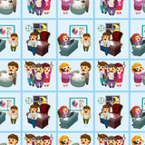 Seamless cartoon office worker pattern Stock Photography