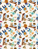 Seamless cartoon office worker pattern Stock Photo