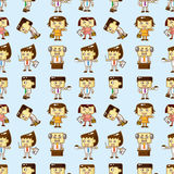 Seamless cartoon office worker pattern Stock Photos