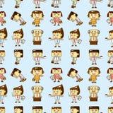 Seamless cartoon office worker pattern Stock Photos