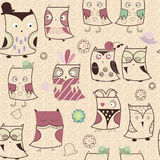 Seamless cartoon owl background Stock Images