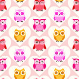 Seamless cartoon owls background Stock Photography