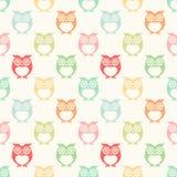 Seamless cartoon owls background Stock Photo