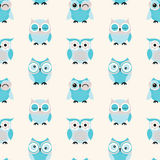 Seamless cartoon owls background Stock Photos