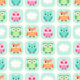 Seamless cartoon owls background pattern Stock Photos