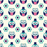 Seamless cartoon owls background pattern Royalty Free Stock Photography