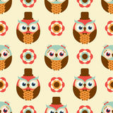 Seamless cartoon owls background pattern Royalty Free Stock Photos