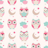 Seamless Cartoon Owls Birds Pattern Royalty Free Stock Image