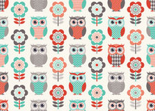 Seamless cartoon owls birds pattern Stock Images