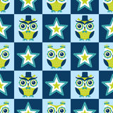 Seamless cartoon owls birds pattern Royalty Free Stock Images