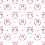 Seamless cartoon owls birds pattern Stock Photo