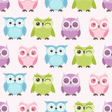 Seamless cartoon owls birds pattern Stock Photos