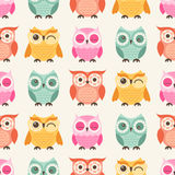 Seamless cartoon owls birds pattern Stock Photography