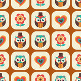 Seamless cartoon owls pattern Royalty Free Stock Image