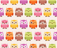 Seamless cartoon owls pattern Stock Photos