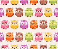 Seamless cartoon owls pattern vector illustration