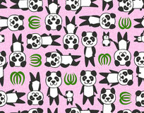 Seamless cartoon panda pattern Stock Photos