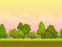 Seamless cartoon park landscape vector illustration